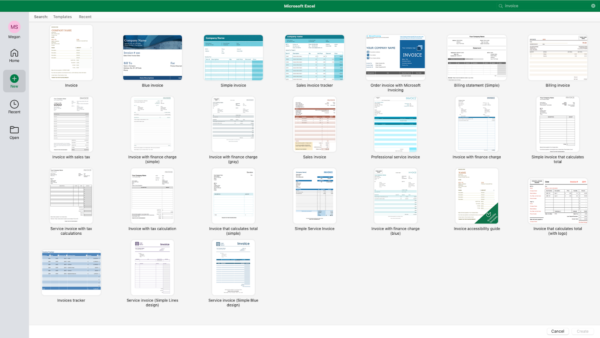 screenshot of Excel invoice template options