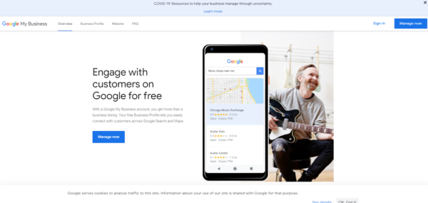 Google's Google My Business webpage