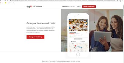 Yelp's website