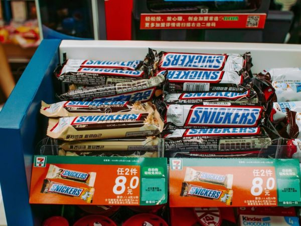 Candy bars set up for Point of Purchase sales
