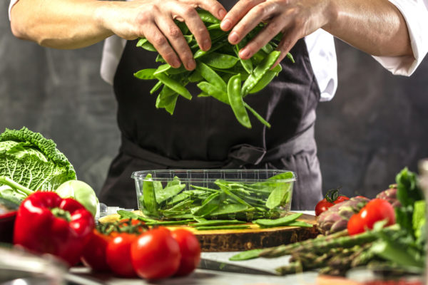 chef working with fresh ingredients