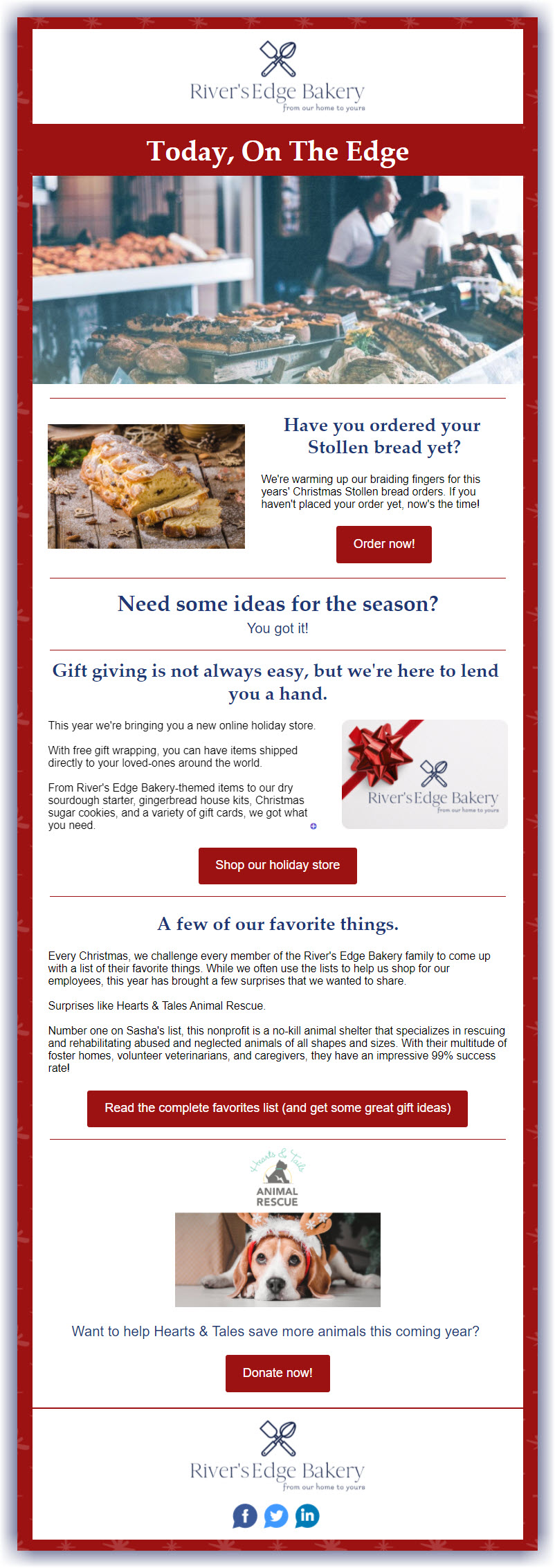 Example of simple, branded Christmas email decorations using a brand complimentary red and holiday imagery
