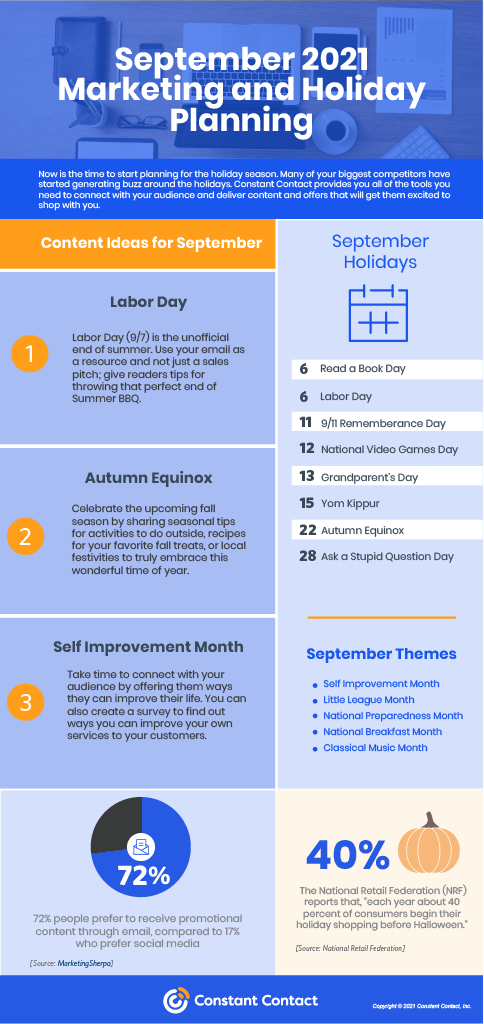 September 2021 Marketing and Holiday Planning infographic by Constant Contact