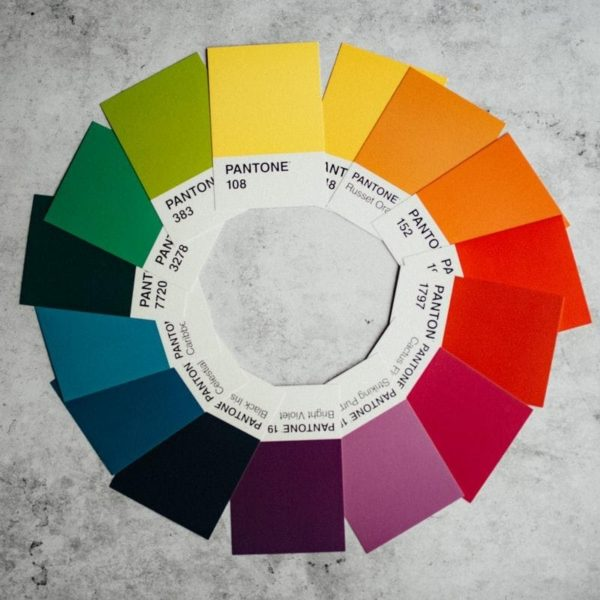 pantone color swatches in a circle