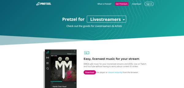 Pretzel for livestreamers webpage