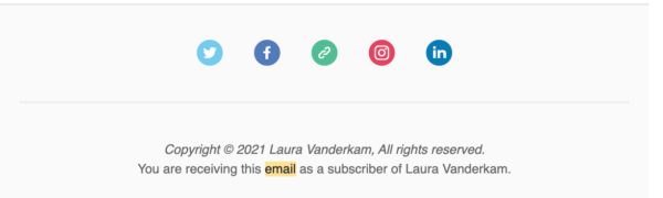 clean email list with a footer