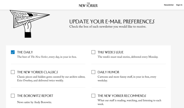 email list options from The New Yorker