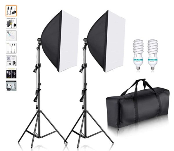 professional product photography setups use light kits with diffusers, stands, and carrying cases