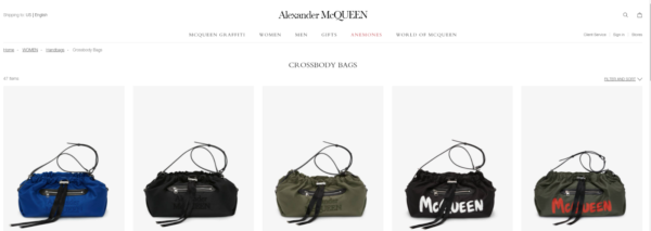 """Product Photography Setup - A set of five handbag images side-by-side. All with the handles curled above the bags in a kind of a cursive """"a"""" shape"""