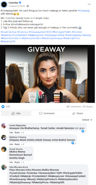 Facebook giveaway example