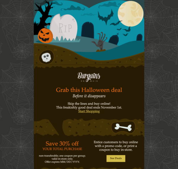 Halloween email template for Halloween promotions