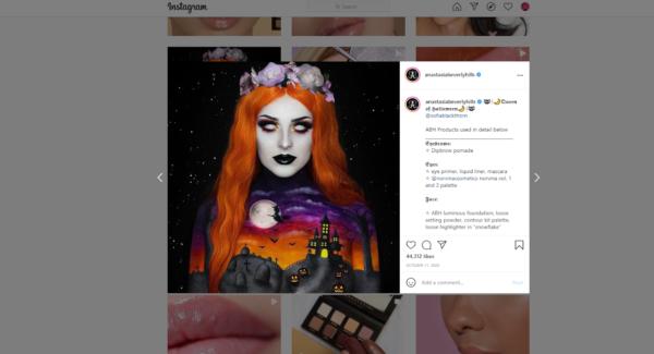 Halloween promotion on Instagram