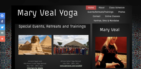 Mary Veal's website provides information on her international retreats
