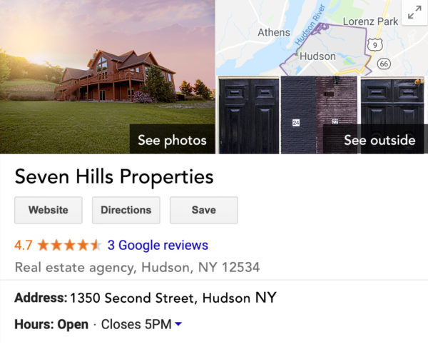 example of a Google real estate listing
