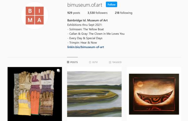 Instagram page for the Bainbridge Island Museum of Art