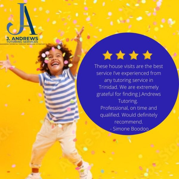 J. Andrews Tutoring Service, positive review posted with an image of a child throwing confetti with bright and cheerful colors