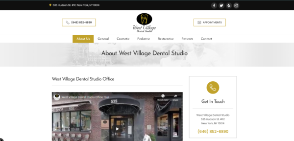 SEO for dentists - West Village Dental Studio's homepage