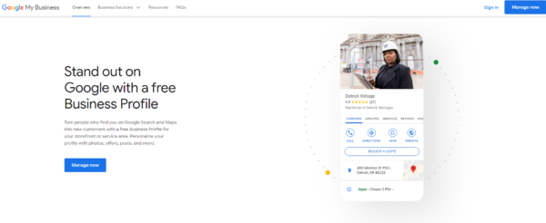 Google's page for creating a free online business profile - a must have for local SEO for dentists