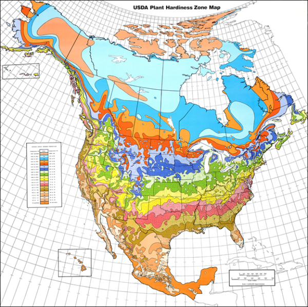 North American map showing growing zones by color coding