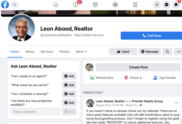 Realtor Facebook page sharing information to bring attention to his brand