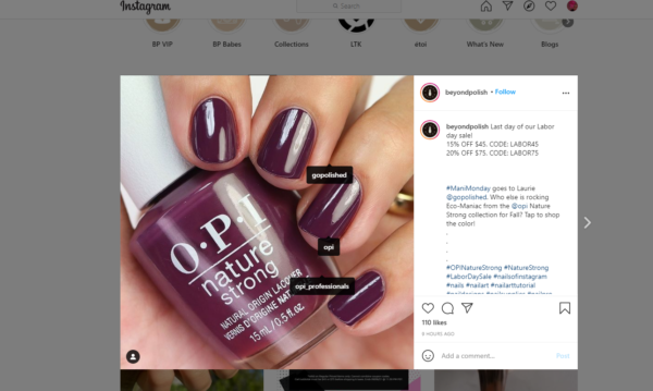 Beyond Polish Facebook post with a vibrant image of fall colored bottle of nail polish