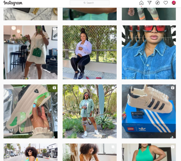 Instagram page for personal stylist, Derria Underwood