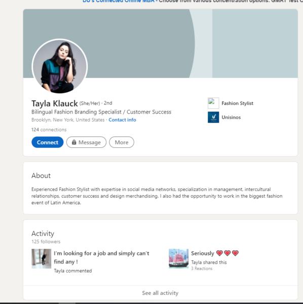 LInkedIn page for Fashion Branding Specialist, Tayla Klauck